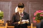 生徒会長の嶋村彩季さんによる在校生歓迎のことば