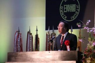 伊集院北中学校の片平校長先生による祝辞