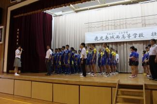 生徒会長の瀬戸口さんによる生徒代表激励のことば