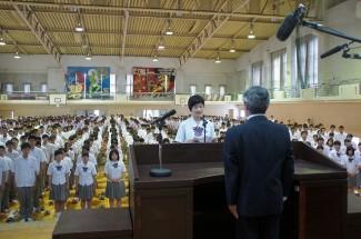 生徒会長の瀬戸口さんによる3年生代表誓いのことば