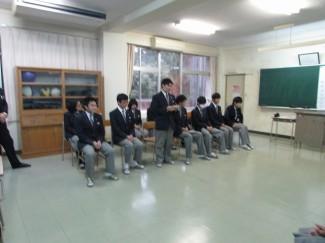 3年生代表のあいさつ 普3G末永蓮君  (隼人中出身)