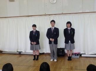 2・3年生の代表生徒による歓迎のあいさつ