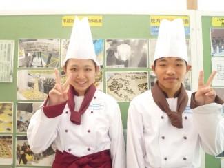 左から川本 未空さん(第四中出身(東京)),大重 佑一朗君(谷山北中出身)