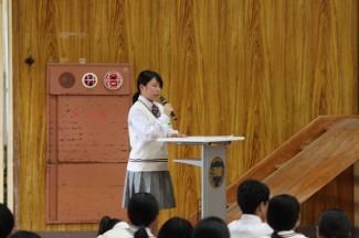 司会は生徒会副会長木場麻利さん(加世田中出身)がしてくれました。