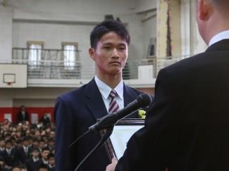 サッカーJ1の横浜F・マリノスに入団した生駒くんには,スポーツ特別功労賞も授与されました
