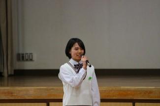 生徒会長の長谷さんによる生徒代表お礼のことば