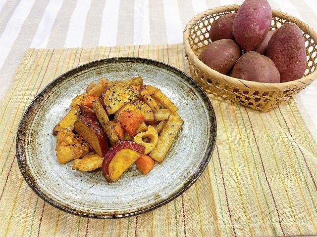 さつまいもと秋の根菜甘辛炒め揚げ